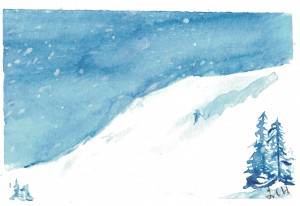 Ski hill w skier